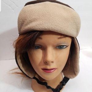 Vintage Snow Hat Beanie  brown and tan